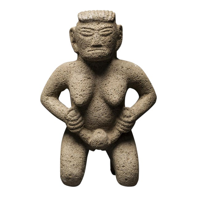 Basalt Figure of a Woman Giving Birth For Sale