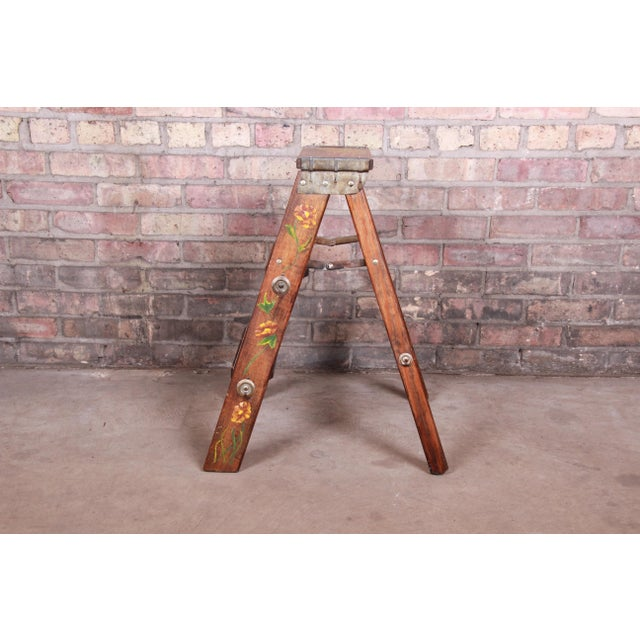 Vintage Hand-Painted Wooden Step Ladder For Sale In South Bend - Image 6 of 10
