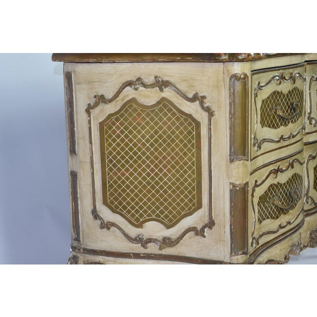 Wood Italian Rococo Style Painted Commode For Sale - Image 7 of 10