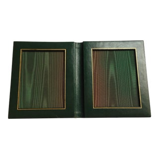 1970s Italian Dark Green Leather Picture Frame For Sale