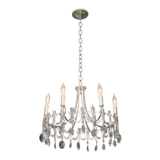 Silverplate Six-Light Chandelier Attributed to Sciolari For Sale