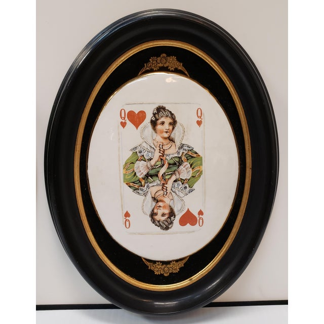 Late 19th Century English Playing Card Painted Transferware Framed Porcelain Plaques - a Pair For Sale - Image 4 of 5