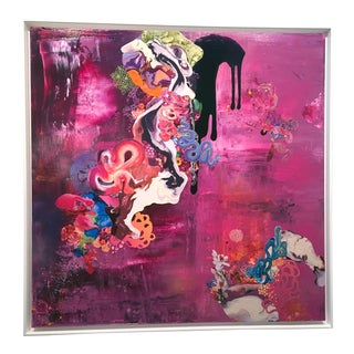 """Kimber Berry """"Thank You for the Magic Carpet Ride"""" Abstract Textured Pink, Purple, Acrylic Painting For Sale"""