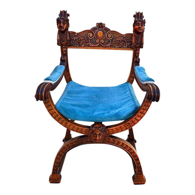 Late 19th Century Blue & Brown Throne For Sale