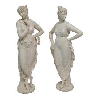 Vintage Mid-Century Classical Women Sculptures - a Pair For Sale