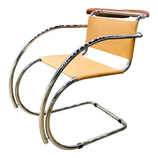 1980s Vintage Mies Van Der Rohe Style Chair For Sale