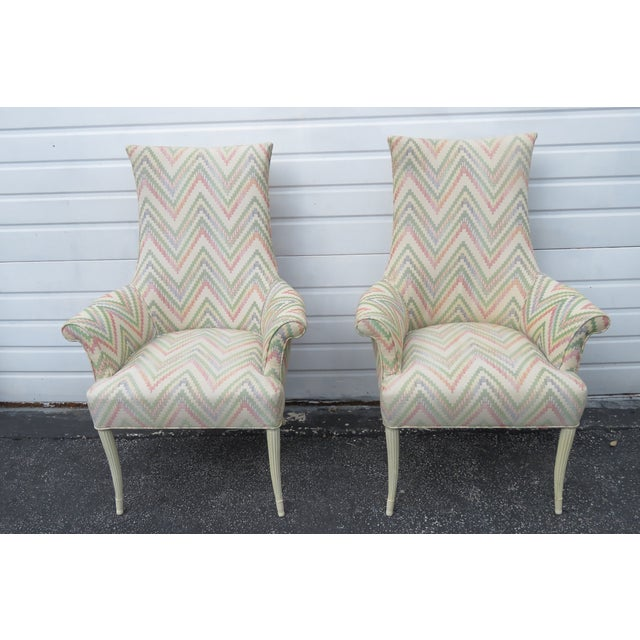 Traditional Vintage Painted Tall Pair of Living BedRoom Fireplace Side Chairs For Sale - Image 3 of 13