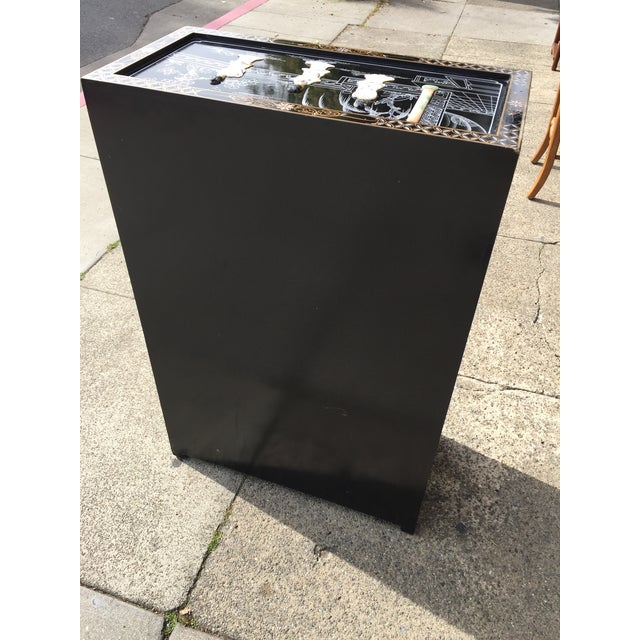 Vintage Asian Black Lacquer Cabinet With Mother Of Pearl For Sale - Image 5 of 10