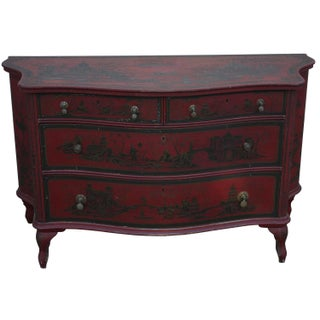 1940s English Red Chinoiserie Hand-Painted Dresser