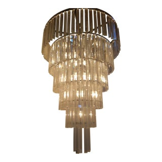 Italian Venini Murano Tiered Glass Crystal Chandelier