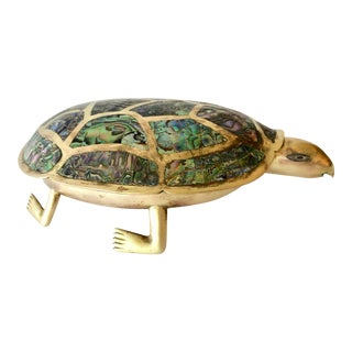 Vintage Mexican Abalone/Brass Turtle Box For Sale