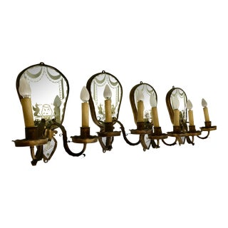 Antique Large Mirrored Wall Electrified Sconces Italian Venetian 19thc. Bronze a Set of 4 For Sale
