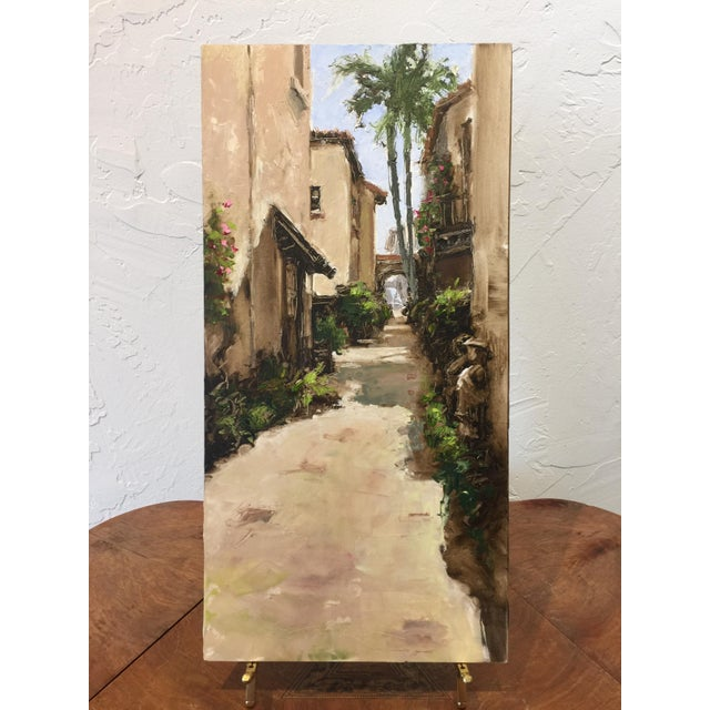 This painting is of a hidden via of Worth Avenue, Palm Beach. Trish Beckham is a master of palette knife painting....