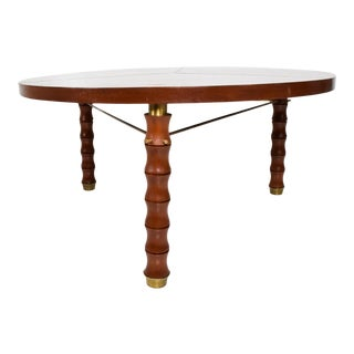 1960s Mahogany Brass Bamboo Dining Table For Sale