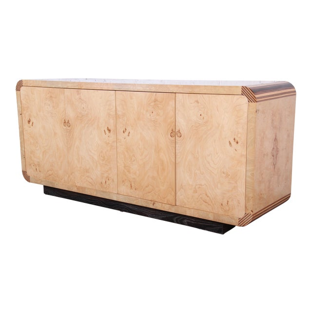 Burled Olive Wood Credenza by Henredon For Sale