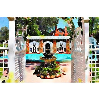 l'Orangerie Swimming Pool - Digital Watercolor Print From Original Color Photograph by Suzanne MacCrone Rogers For Sale