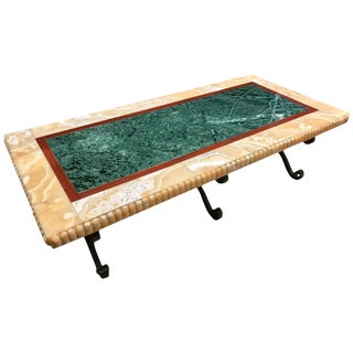19th Century Specimen Marble Bench or Coffee Table, Philadelphia History Museum For Sale