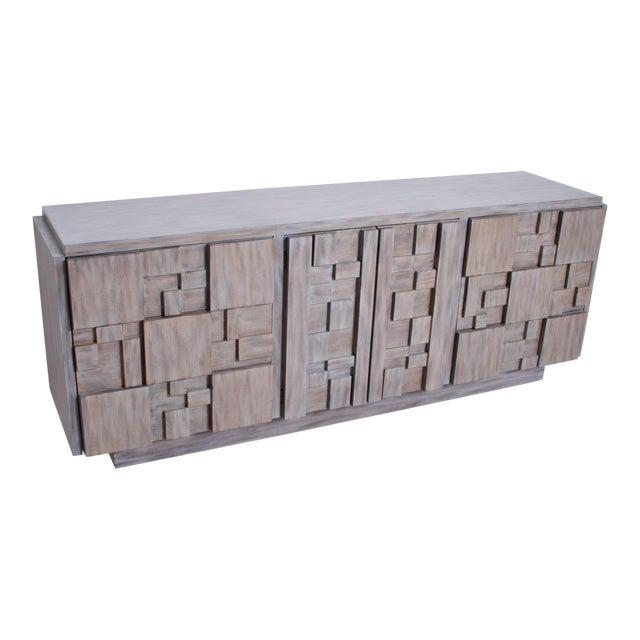 Mid-Century Modern Brutalist Dresser, Lane Patchwork Walnut Tiles, After Paul Evans For Sale