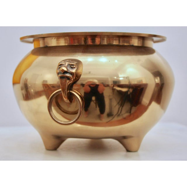 Brass Cachepot Planter With Face Figure Rings For Sale In Dallas - Image 6 of 6