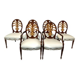 Solid Mahogany Hepplewhite Chairs- Set of 6 For Sale
