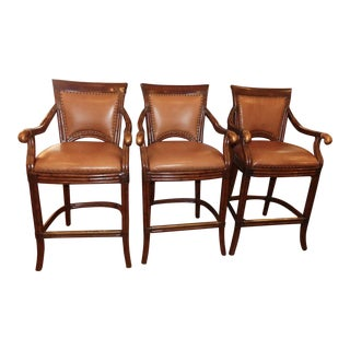 Artistica Rattan and Leather Bar Stools- Set of 3 For Sale