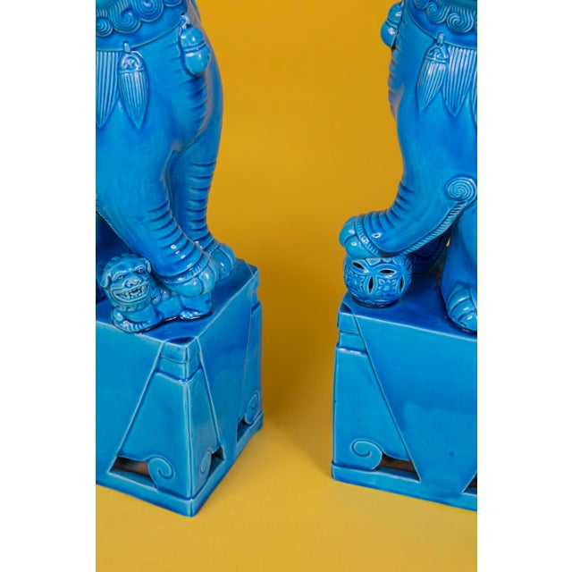 Turquoise Oversize Pair of Vintage Turquoise Foo Dogs For Sale - Image 8 of 10
