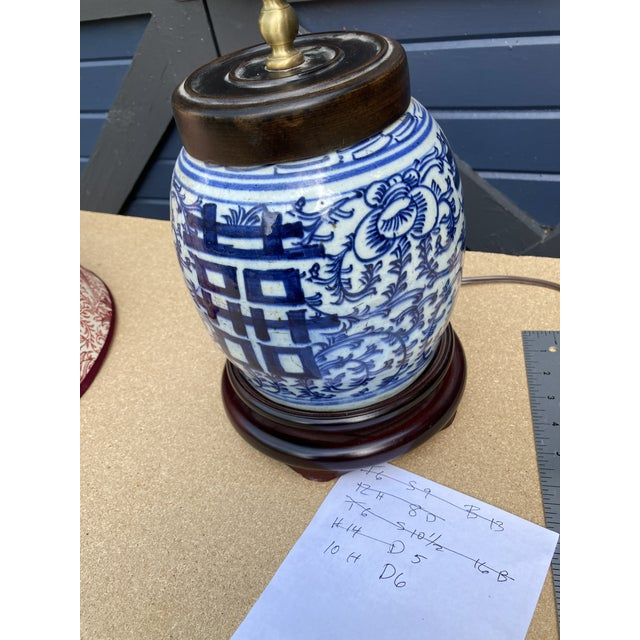 Antique Blue and White Ginger Jar Lamp For Sale - Image 4 of 5