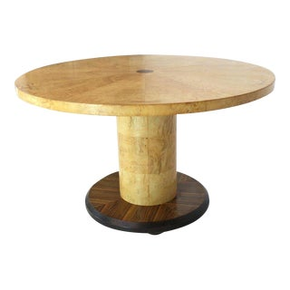 Round Single Cylinder Pedestal Base Burl Game Low Dining Table For Sale