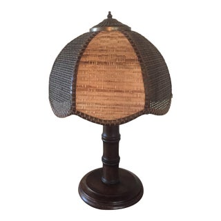 Mid Century Two Tone Wicker Rattan With Bamboo Design Wood Lamp For Sale