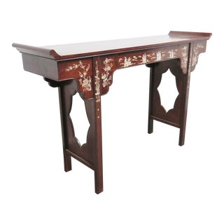 Chinese Rosewood Inlaid Altar Style Console Table