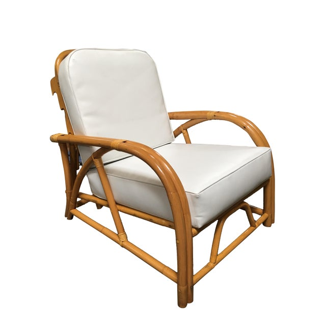 White Restored 1949 Rattan Reclining Lounge Chair With Arched Arms For Sale - Image 8 of 8