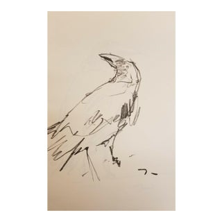 "Jose Trujillo Modernist Original ""Crow"" Charcoal Paper Sketch Drawing For Sale"