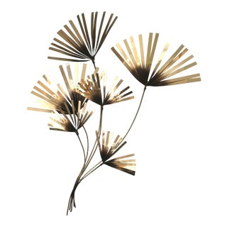 1970s Curtis Jere Brass Palm Fronds Wall Sculpture For Sale
