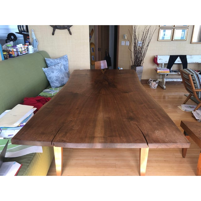 Asian Scandinavian Modern Ralph Pucci Walnut Wood Dining Table For Sale - Image 3 of 8