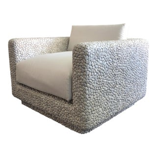 Modern Pebble Clad Lounge Chair For Sale