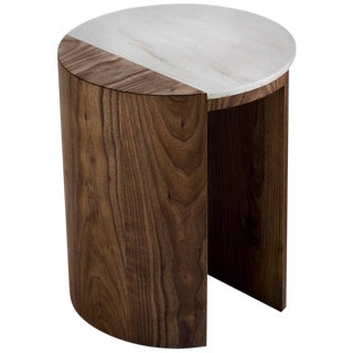 Contemporary Gibbous Side Table in Natural Oiled Walnut With Witch Hazel Corian