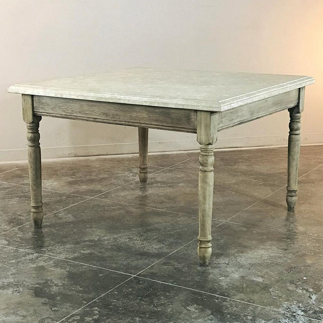 Late 19th Century 19th Century French Rustic Limestone Top Game Table - Center Table For Sale - Image 5 of 12
