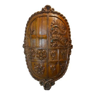 17th century highly carved English Coat of Arms w/Dolphins & Roses