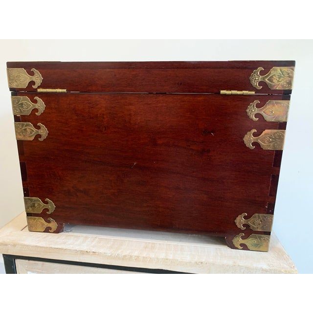 Mid 20th Century Stunning Vintage Asian Silk Lined Jewelry Box With Flame Mahogany Inlay and Etched Brass Trim and Lantern Pulls For Sale - Image 5 of 13
