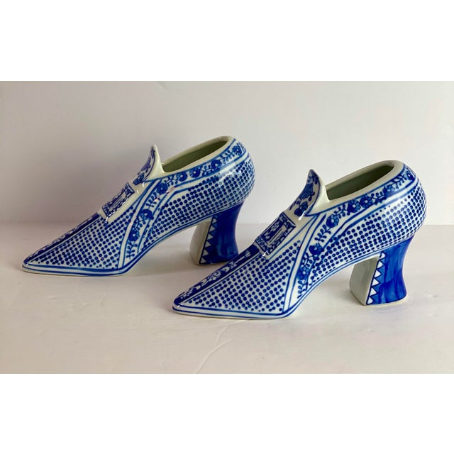 Vintage Chinoiserie Royal Blue Porcelain Shoes - a Pair For Sale - Image 4 of 8