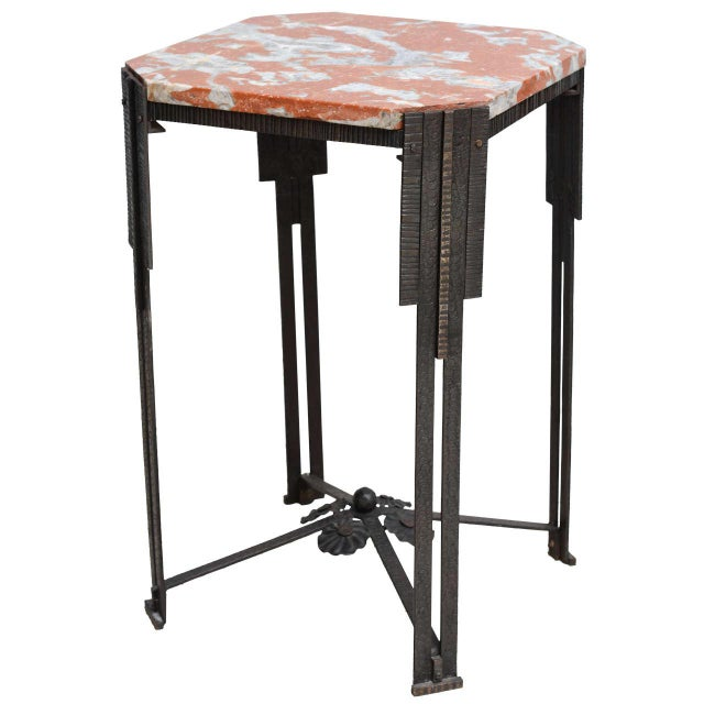 Art Deco Hammered Steel and Marble-Top Table, France, 1930s For Sale - Image 9 of 9