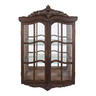 Victorian Antique Curio Cabinet with Hand Carved Wood Designs