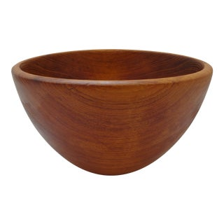 Vintage Hand Made Carved Hard Wood Serving or Salad Bowl For Sale