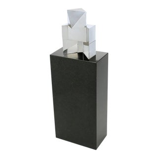 Chrome Cubist Sculpture on Black Granite Pedestal For Sale