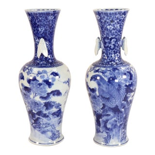 Early 20th Century Japanese Blue and White Hawk and Peony Vases - a Pair For Sale
