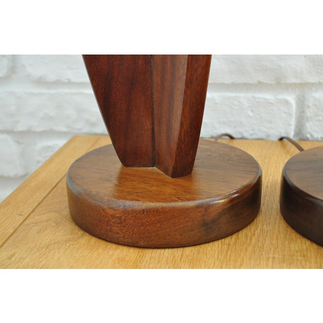 Sculptured Walnut Mid-Century Lamps - A Pair - Image 5 of 5