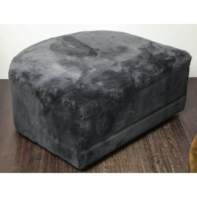 Venfield Custom Genuine Shearling Ottoman For Sale - Image 4 of 6
