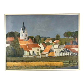 Vintage French Village Landscape Framed Oil Painting on Canvas by Maurice Dugit For Sale