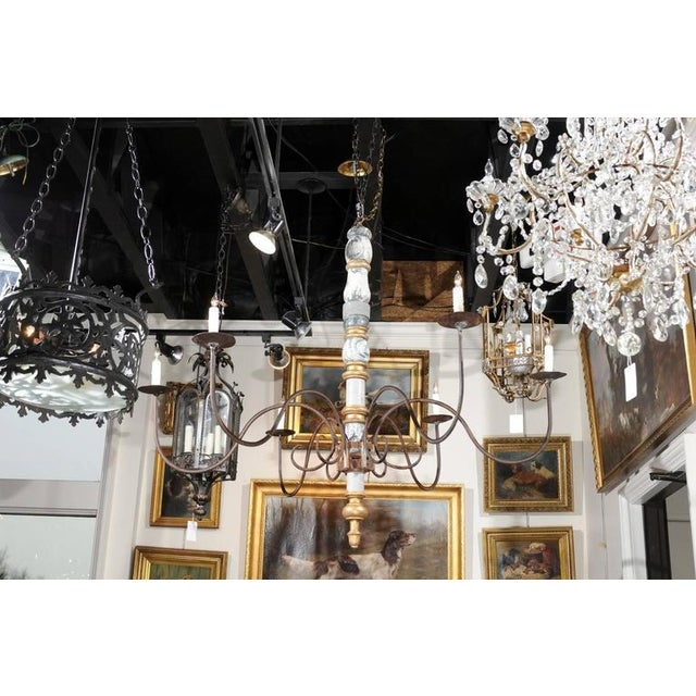 Sophisticated italian large early 20th century six light wood and italian large early 20th century six light wood and iron candelabra chandelier image 10 aloadofball Image collections