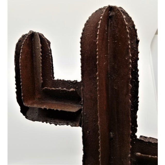 Vintage Brutalist Welded Metal Cactus Table Sculpture For Sale - Image 9 of 13